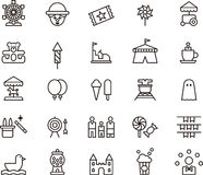 Εικονίδια που περιγράφουν το λούνα παρκ Στοκ φωτογραφία με δικαίωμα ελεύθερης χρήσης