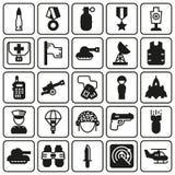 Εικονίδια που τίθενται για το στρατιωτικό infographics, κινητό παιχνίδι Στοκ φωτογραφία με δικαίωμα ελεύθερης χρήσης