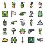 Εικονίδια που τίθενται για το στρατιωτικό infographics, κινητό παιχνίδι Στοκ Εικόνες