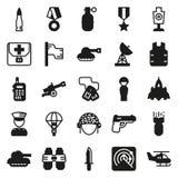 Εικονίδια που τίθενται για το στρατιωτικό infographics, κινητό παιχνίδι Στοκ Φωτογραφία