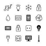 εικονίδια που τίθενται Διαδίκτυο των πραγμάτων σπίτι έξυπνο σπίτι έξυπνο Στοκ Εικόνες