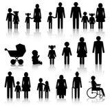 Εικονίδια που τίθενται οικογενειακά με τις σκιές Στοκ φωτογραφίες με δικαίωμα ελεύθερης χρήσης