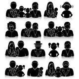Εικονίδια που τίθενται οικογενειακά με τις σκιές Στοκ Εικόνες