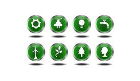 εικονίδια που τίθενται πράσινα Στοκ Φωτογραφία