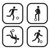 Εικονίδια ποδοσφαίρου ή ποδοσφαίρου Στοκ Φωτογραφία