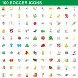 100 εικονίδια ποδοσφαίρου καθορισμένα, ύφος κινούμενων σχεδίων Στοκ φωτογραφίες με δικαίωμα ελεύθερης χρήσης