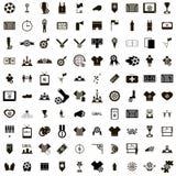 100 εικονίδια ποδοσφαίρου καθορισμένα Στοκ Εικόνες