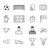 Εικονίδια ποδοσφαίρου καθορισμένα Στοκ Φωτογραφία