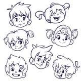 Εικονίδια προσώπου παιδιών κινούμενων σχεδίων Διανυσματικό σύνολο κεφαλιών παιδιών ή εφήβων που περιγράφονται Απεικόνιση διακοπής ελεύθερη απεικόνιση δικαιώματος