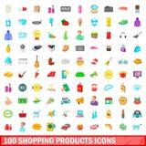 100 εικονίδια προϊόντων αγορών καθορισμένα, ύφος κινούμενων σχεδίων Στοκ εικόνα με δικαίωμα ελεύθερης χρήσης