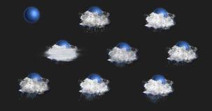 Εικονίδια πρόγνωσης καιρού που τίθενται, με το άλφα κανάλι ελεύθερη απεικόνιση δικαιώματος