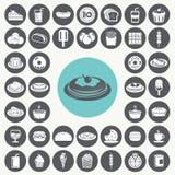Εικονίδια πρόχειρων φαγητών καθορισμένα Στοκ Εικόνα
