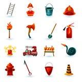 Εικονίδια πυροσβεστών καθορισμένα Στοκ Φωτογραφίες