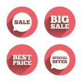 Εικονίδια πώλησης Ειδικά σύμβολα λεκτικών φυσαλίδων προσφοράς Στοκ Εικόνες