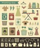 Εικονίδια πλυντηρίων Στοκ Φωτογραφίες