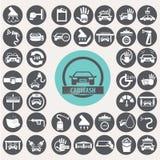 Εικονίδια πλυσίματος αυτοκινήτων καθορισμένα Στοκ εικόνα με δικαίωμα ελεύθερης χρήσης