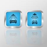 Εικονίδια πλυσίματος αυτοκινήτων διανυσματική απεικόνιση