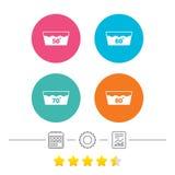 Εικονίδια πλυσίματος Μηχανή washable σε εξήντα βαθμούς ελεύθερη απεικόνιση δικαιώματος