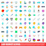100 εικονίδια ρομπότ καθορισμένα, ύφος κινούμενων σχεδίων Στοκ Εικόνες