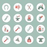 Εικονίδια σιδηρουργών καθορισμένα ελεύθερη απεικόνιση δικαιώματος