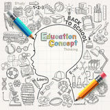 Εικονίδια σκέψης έννοιας εκπαίδευσης doodles καθορισμένα Στοκ Εικόνα