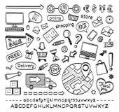 Εικονίδια σκίτσων ηλεκτρονικού εμπορίου Στοκ φωτογραφία με δικαίωμα ελεύθερης χρήσης