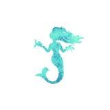 Εικονίδια σκιαγραφιών watercolor γοργόνων που απομονώνονται Στοκ Φωτογραφία