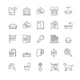 Εικονίδια σπιτιών και ακίνητων περιουσιών καθορισμένα Στοκ Εικόνες