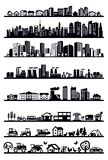 Εικονίδια σπιτιών και πόλεων απεικόνιση αποθεμάτων