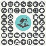 Εικονίδια σπιτιών και σπιτιών καθορισμένα Διανυσματική απεικόνιση