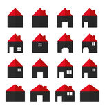 εικονίδια σπιτιών που τίθενται τα επίπεδα κτημάτων στεγάζουν την πραγματική πώληση μισθώματος Στοκ Φωτογραφίες