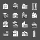 εικονίδια σπιτιών που τίθ&ep Συλλογή ακίνητων περιουσιών και οικοδόμησης Στοκ φωτογραφία με δικαίωμα ελεύθερης χρήσης