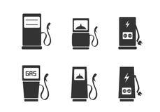 Εικονίδια σταθμών χρέωσης καθορισμένα διανυσματική απεικόνιση