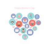 Εικονίδια στην ημέρα των διεθνών γυναικών απεικόνιση αποθεμάτων