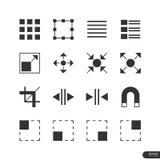 Εικονίδια στοιχείων ενδιάμεσων με τον χρήστη & σχεδίου καθορισμένα - διανυσματική απεικόνιση Στοκ Φωτογραφία