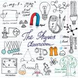 Εικονίδια στοιχείων φυσικής και επιστήμης doodles καθορισμένα Συρμένο το χέρι σκίτσο με το μικροσκόπιο, τύποι, πειραματίζεται εξο ελεύθερη απεικόνιση δικαιώματος