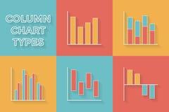 Εικονίδια στο επίπεδο ύφος Τύποι γραφικών παραστάσεων - σύνολο συλλογής στοιχείων Infographic διανυσματική απεικόνιση