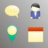 Εικονίδια στο ύφος εγγράφου των τεσσάρων στοιχείων για τους ιστοχώρους και τα προγράμματα απεικόνιση αποθεμάτων