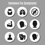 Εικονίδια συμπτωμάτων ασθένειας γρίπης γρίπης διανυσματική απεικόνιση