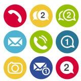 Εικονίδια συνομιλίας επικοινωνίας Κυκλικά κουμπιά για τη συνομιλία ή το φόρουμ με το σύμβολο ακουστικών, καμερών, μηνυμάτων και φ ελεύθερη απεικόνιση δικαιώματος