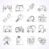 Εικονίδια συντήρησης υπηρεσιών αυτοκινήτων Στοκ εικόνες με δικαίωμα ελεύθερης χρήσης
