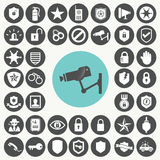 Εικονίδια συσκευών ασφάλειας καθορισμένα Διανυσματική απεικόνιση