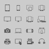 Εικονίδια συσκευών επικοινωνίας Στοκ Φωτογραφία