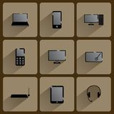 Εικονίδια συσκευών επικοινωνίας Στοκ Εικόνες