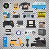 Εικονίδια συσκευών τεχνολογίας Hipster διανυσματική απεικόνιση