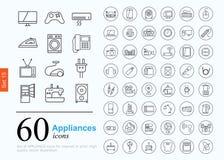 60 εικονίδια συσκευών Στοκ Εικόνες