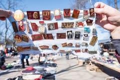 Εικονίδια συλλογής πώλησης με Λένιν παζαριών στο ST Peter Στοκ Εικόνα