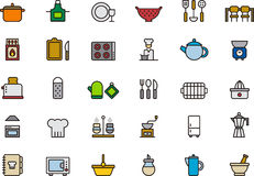 Εικονίδια σχετικά με την κουζίνα Στοκ Εικόνες