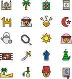 Εικονίδια σχετικά με τον αραβικό και μουσουλμανικό πολιτισμό Στοκ φωτογραφία με δικαίωμα ελεύθερης χρήσης