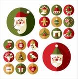 Εικονίδια σχεδίου Χριστουγέννων καθορισμένα κάρτα καλή χρονιά Στοκ Φωτογραφίες